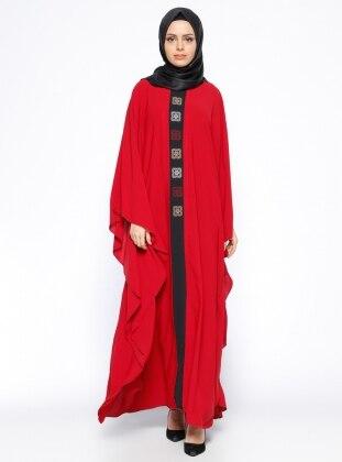 Önü Nakışlı Ferace Elbise - Kırmızı Siyah