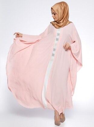 Önü Nakışlı Ferace Elbise - Pudra Ekru