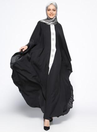 Önü Nakışlı Ferace Elbise - Siyah Ekru