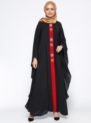 Önü Nakışlı Ferace Elbise - Siyah Kırmızı Filizzade