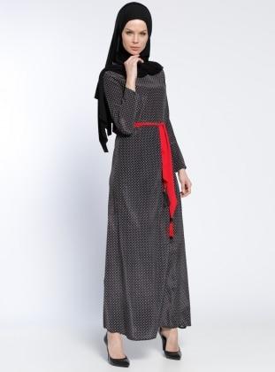 Puantiyeli Elbise - Siyah Kırmızı