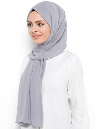 Gray - Plain - Chiffon - Shawl