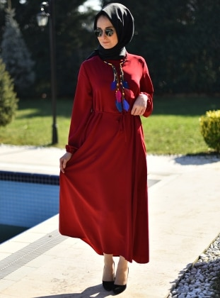 Düz Renkli Elbise - Bordo