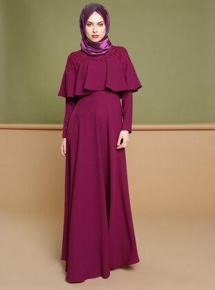 Volan Detaylı Elbise - Fuşya