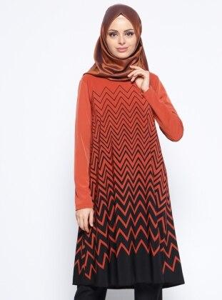 Stripe - Orange - Black - Crew neck - Tunic - Almera 274023