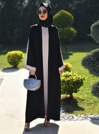 Black - Ecru - Crew neck - Unlined - Dress