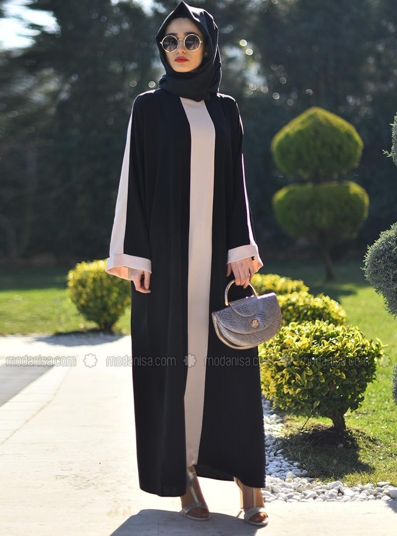 Black - Ecru - Crew neck - Unlined - Abaya