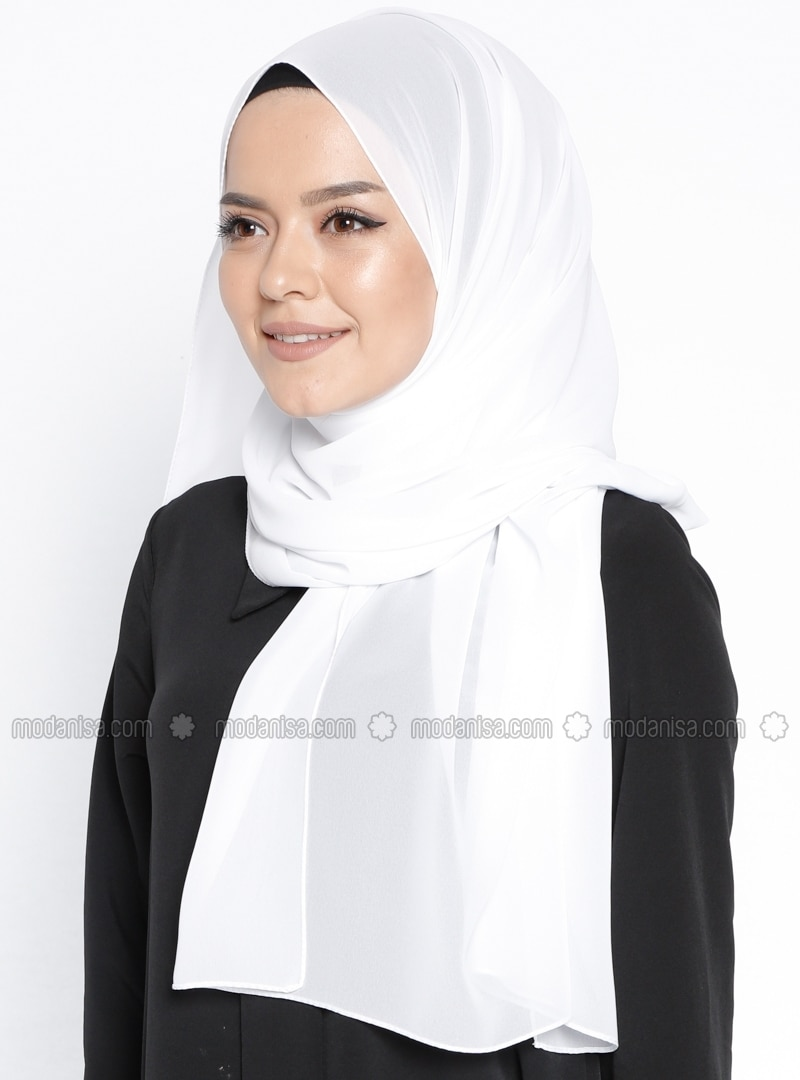 White - Plain - Chiffon - Shawl