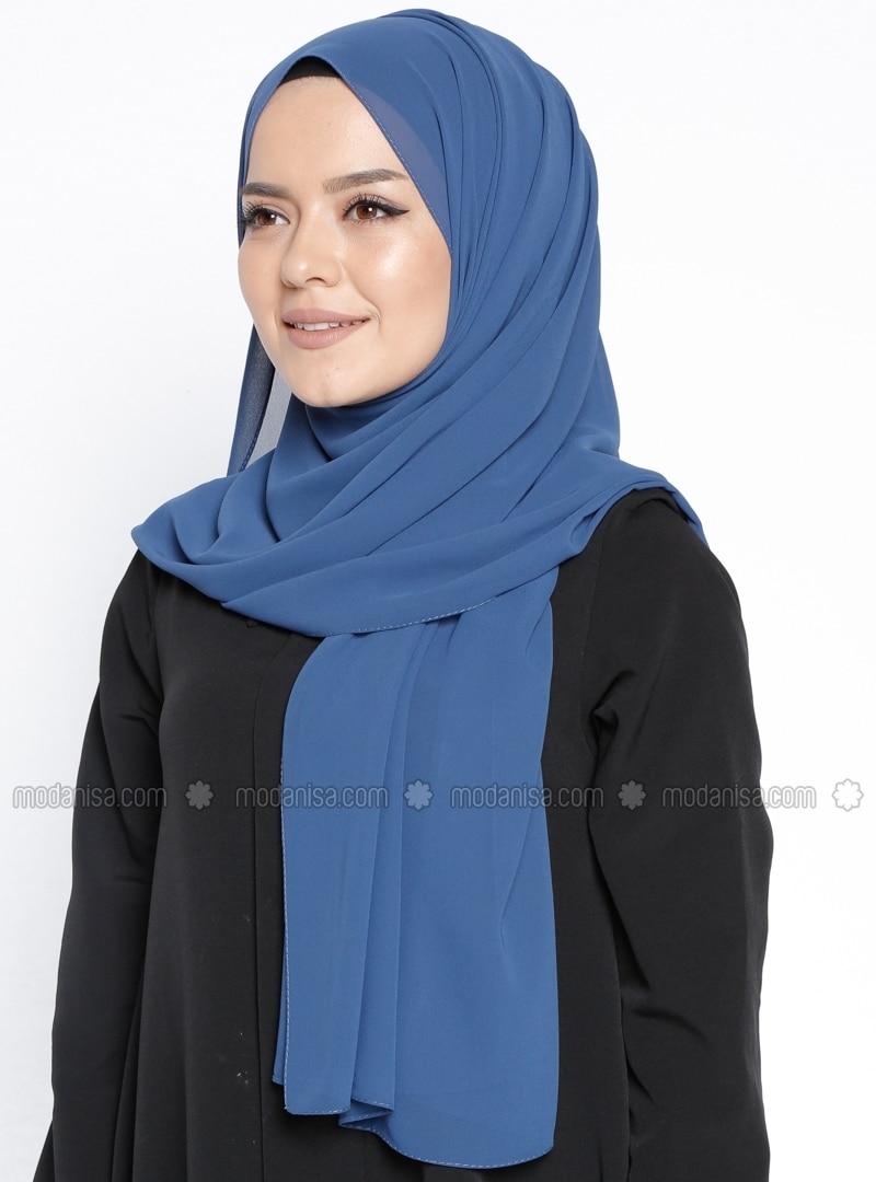 Chiffon - Plain - Blue - Shawl