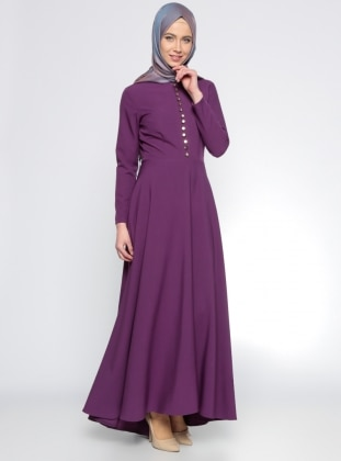 Brit Detaylı Elbise - Mor