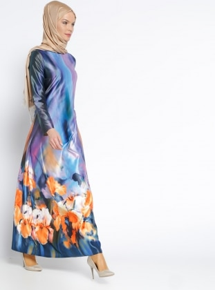 Desenli Elbise - Lacivert Lila
