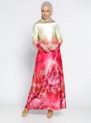 Desenli Elbise - Sarı Fuşya
