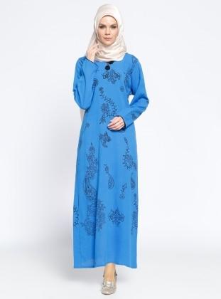 Cotton - Unlined - V neck Collar - Multi - Saxe - Dress