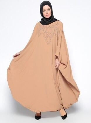 Drop Baskılı Ferace Elbise - Camel