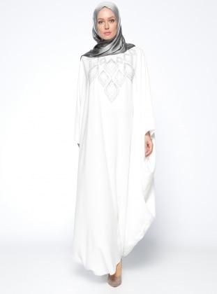 Drop Baskılı Ferace Elbise - Ekru Filizzade