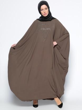 Drop Baskılı Ferace Elbise - Haki