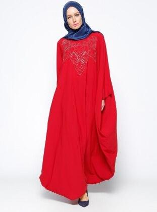 Drop Baskılı Ferace Elbise - Kırmızı Filizzade