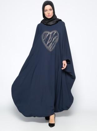 Drop Baskılı Ferace Elbise - Lacivert