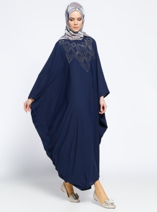 Drop Baskılı Ferace Elbise - Lacivert Filizzade