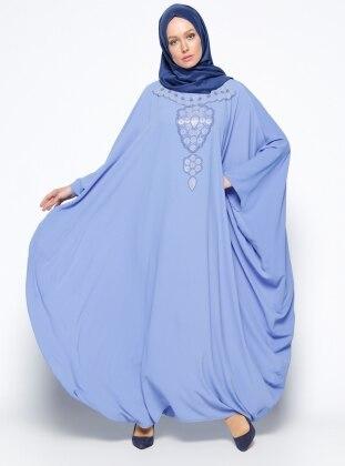 Drop Baskılı Ferace Elbise - Mavi