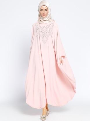 Drop Baskılı Ferace Elbise - Pudra
