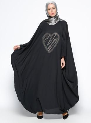 Drop Baskılı Ferace Elbise - Siyah