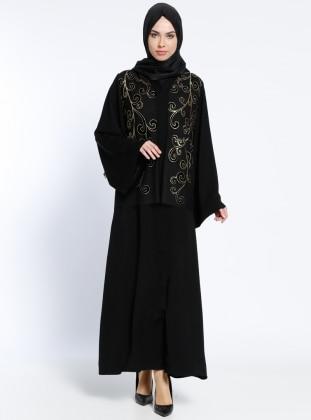 Linisa Çıtçıtlı Abaya - Siyah