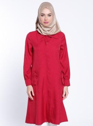 Gizli Fermuarlı Kap - Kırmızı
