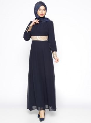 Payetli Abiye Elbise - Lacivert