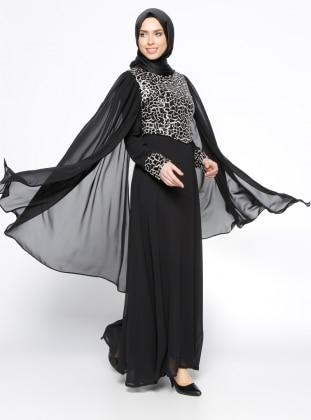 Payetli Abiye Elbise - Siyah BÜRÜN