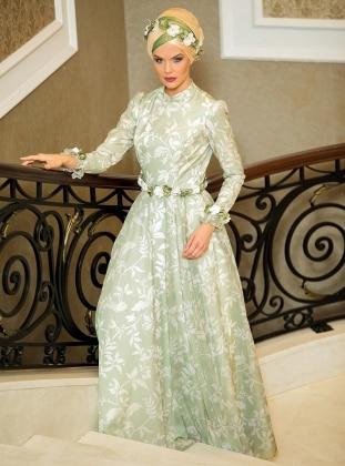 Salkım Abiye Elbise - Çağla Yeşili Zehrace