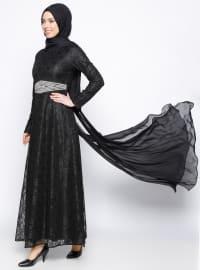 BÜRÜN Dantelli Abiye Elbise - Siyah - BÜRÜN