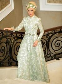 Salkım Abiye Elbise - Çağla Yeşili - Zehrace