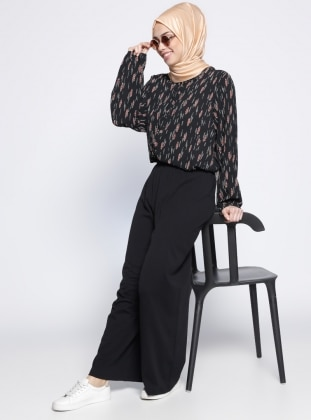 Bol Paça Pantolon - Siyah Meryem Acar