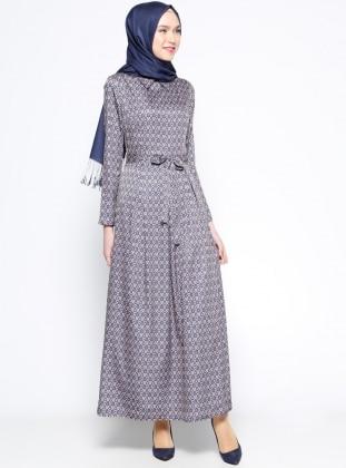 Desenli Elbise - Eflatun Turuncu