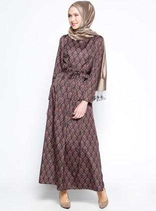 Desenli Elbise - Siyah Bordo