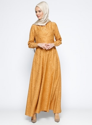 Veteks Line Jakarlı Elbise - Hardal