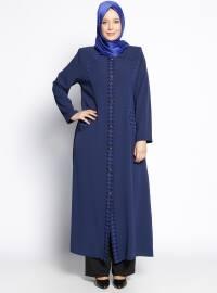 Navy Blue - Houndstooth - Crew neck - Unlined - Plus Size Abaya