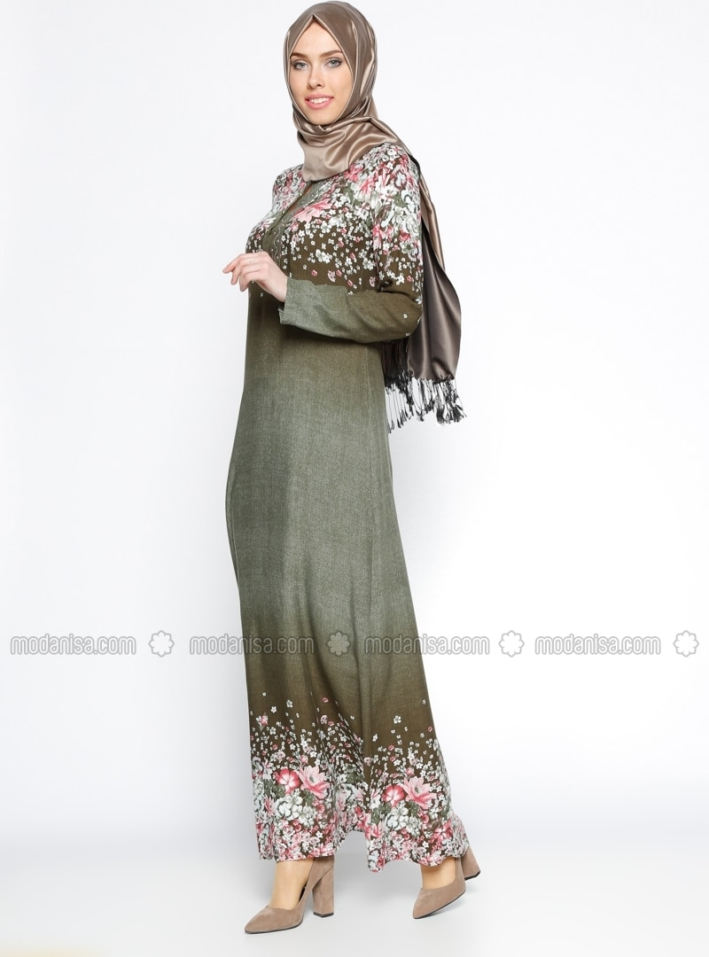 Kaki multicolore col chinois tissu non double robe for Robe col chinois