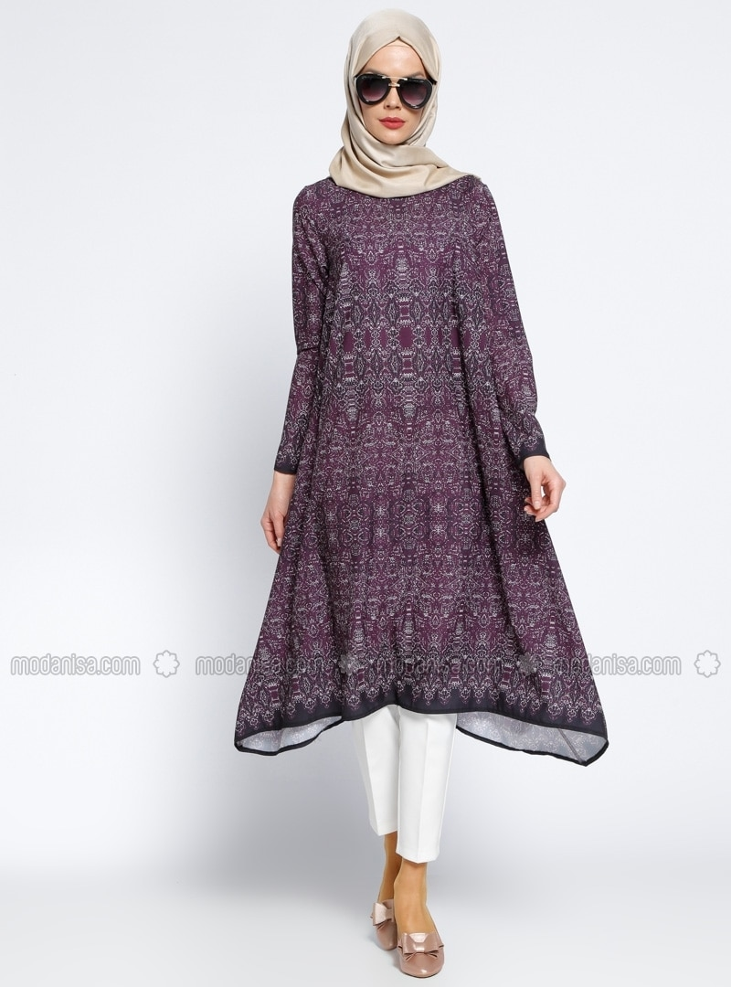Purple - Multi - Crew neck - Tunic