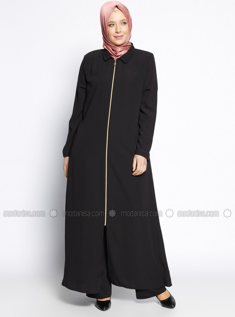 Black - Point Collar - Unlined - Plus Size Abaya