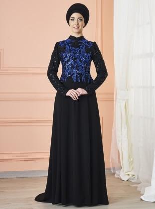 Anka Abiye Elbise - Siyah Saks Mevra
