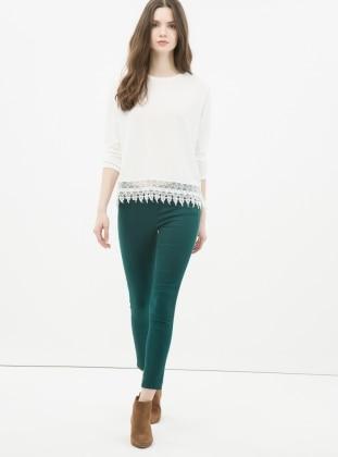 Dar Paça Pantolon - Yeşil