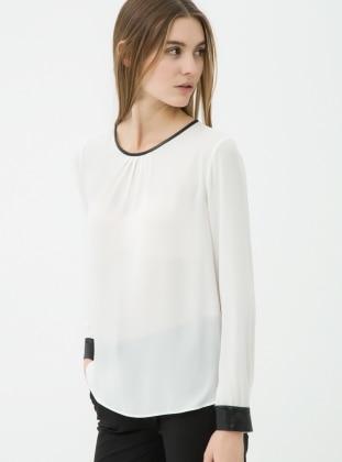 Deri Detaylı Bluz - Beyaz Koton