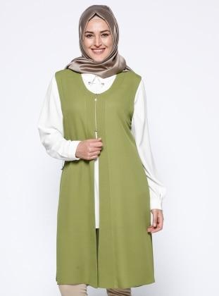 Green - Crew neck - Plus Size Vest