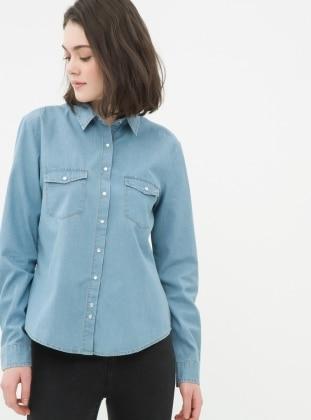 Kot Gömlek - Açık Mavi Koton
