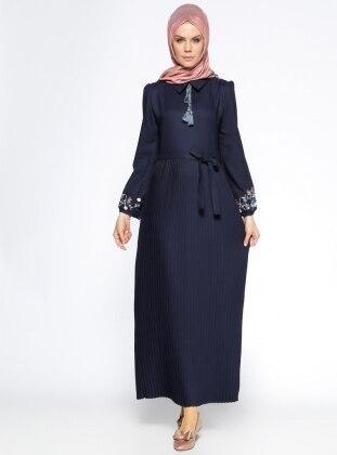 Piliseli Elbise - Lacivert