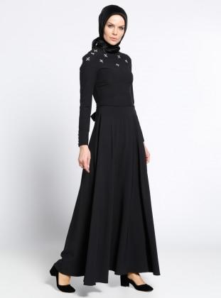 Taş Detaylı Elbise - Siyah