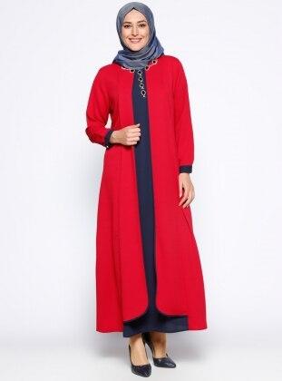Taş İşlemeli Elbise - Bordo Lacivert