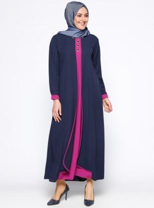 Taş İşlemeli Elbise - Lacivert Fuşya